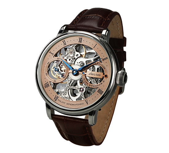 Poljot International Nicolai II Skeleton Steel/Rose